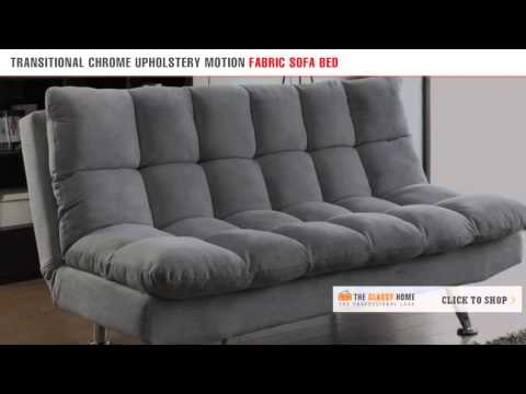 Transitional Chrome Gray Upholstery Motion Fabric Sofa Bed