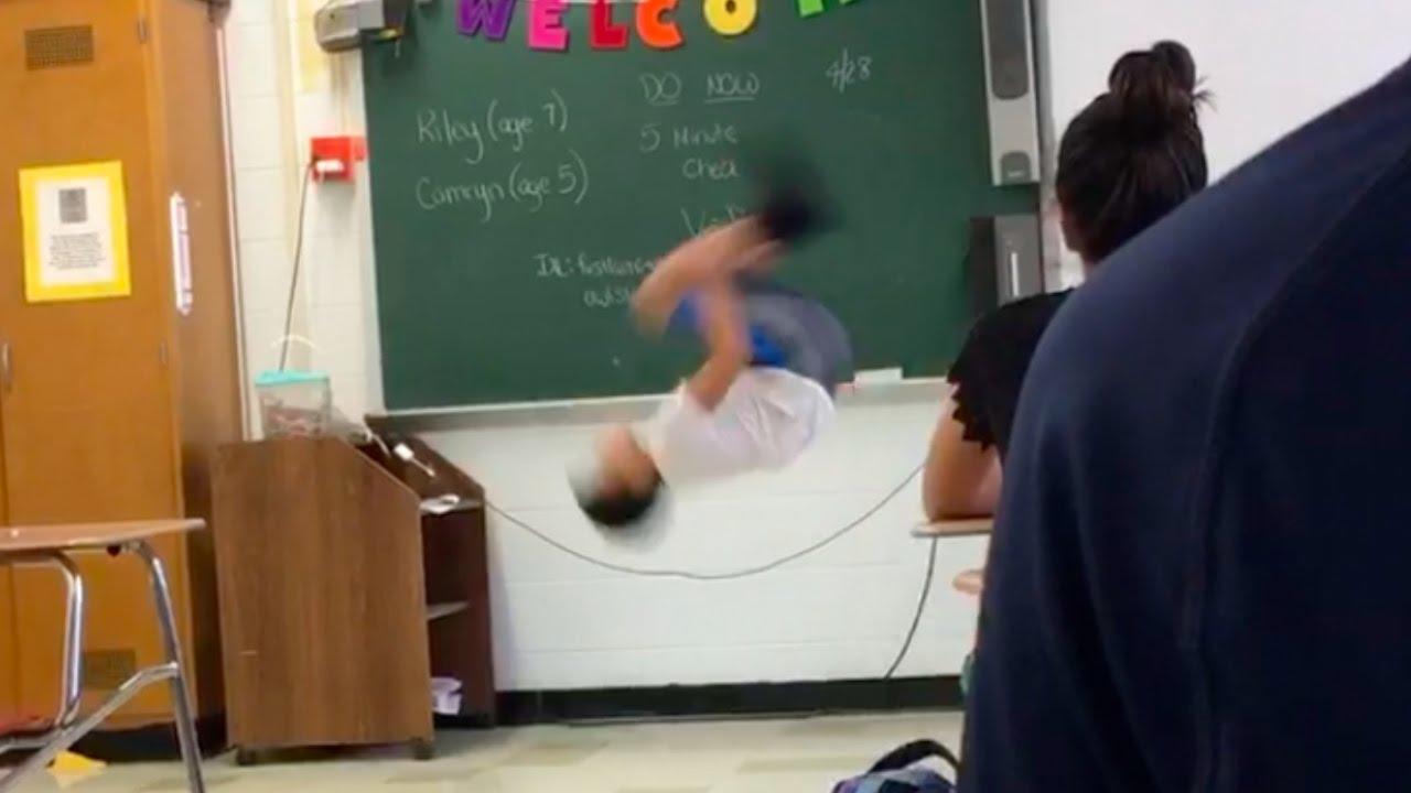 Kid Does Backflip In School