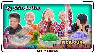 My Little Brothers pick our Slime Ingredients! Making Slime with Brock and Boston!