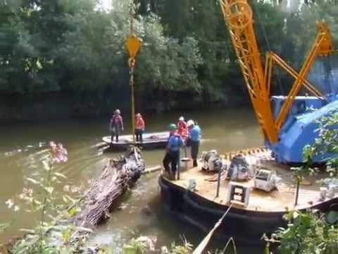 Crane barge tree removal. Ecoarborist Safety Boat