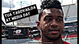 Alabama Crimson Tide Quarterback Tua Tagovailoa speaks at Media day