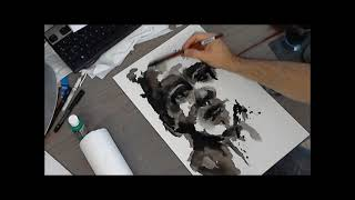 Abstract portrait with india ink N°3 - full painting (jeroy94)