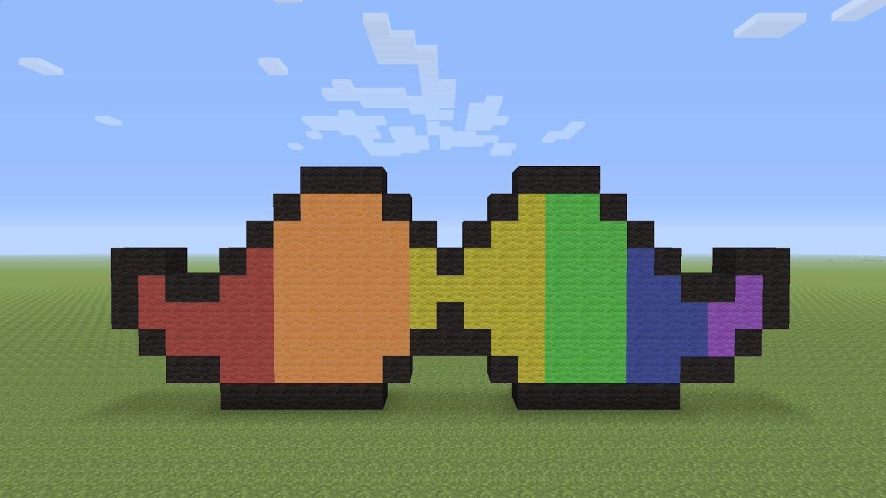 Minecraft Pixel Art Rainbow Moustache Youtube