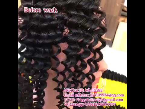Wholesale customers' Favorite Deep Curl virgin hair before wash and after wash