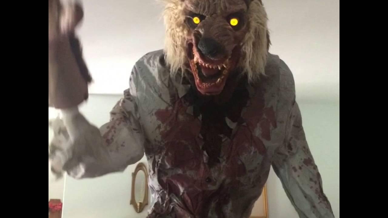 lurching werewolf animated halloween prop