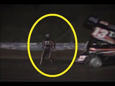 Tony Stewart HITS Sprint Car Driver Kevin Ward Jr (RAW VIDEO) Canandaigua Motorsports Park 8/9/14