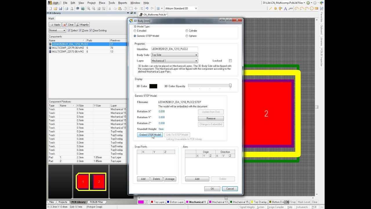 How to Import 3D STEP model into footprint - PCB 3D