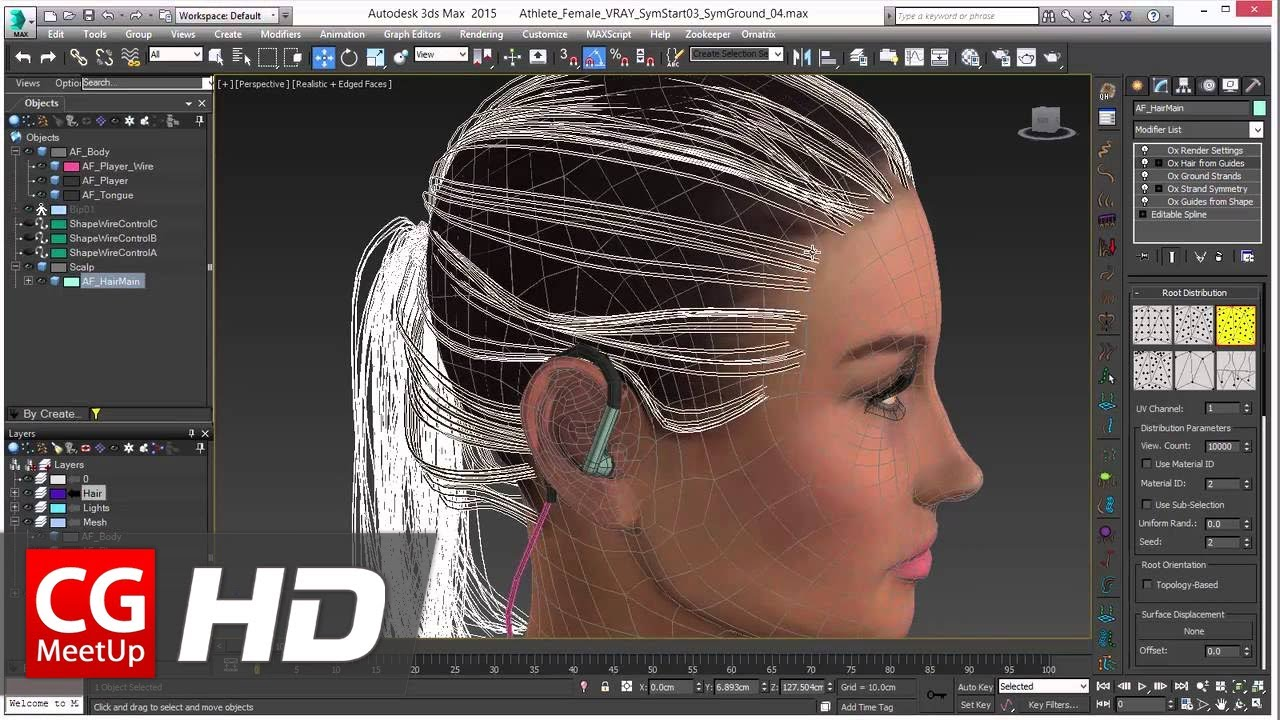 Ornatrix For 3dsmax Hair Placement Control Using Guide Faces