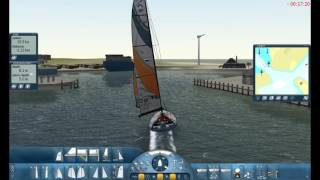Sail Simulator 5 volvo 70 boat tips in shallow waters