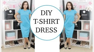 DIY T-SHIRT DRESS, Sewing project for beginners