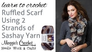 Crochet Super Easy Ruffled Scarf Using 2...