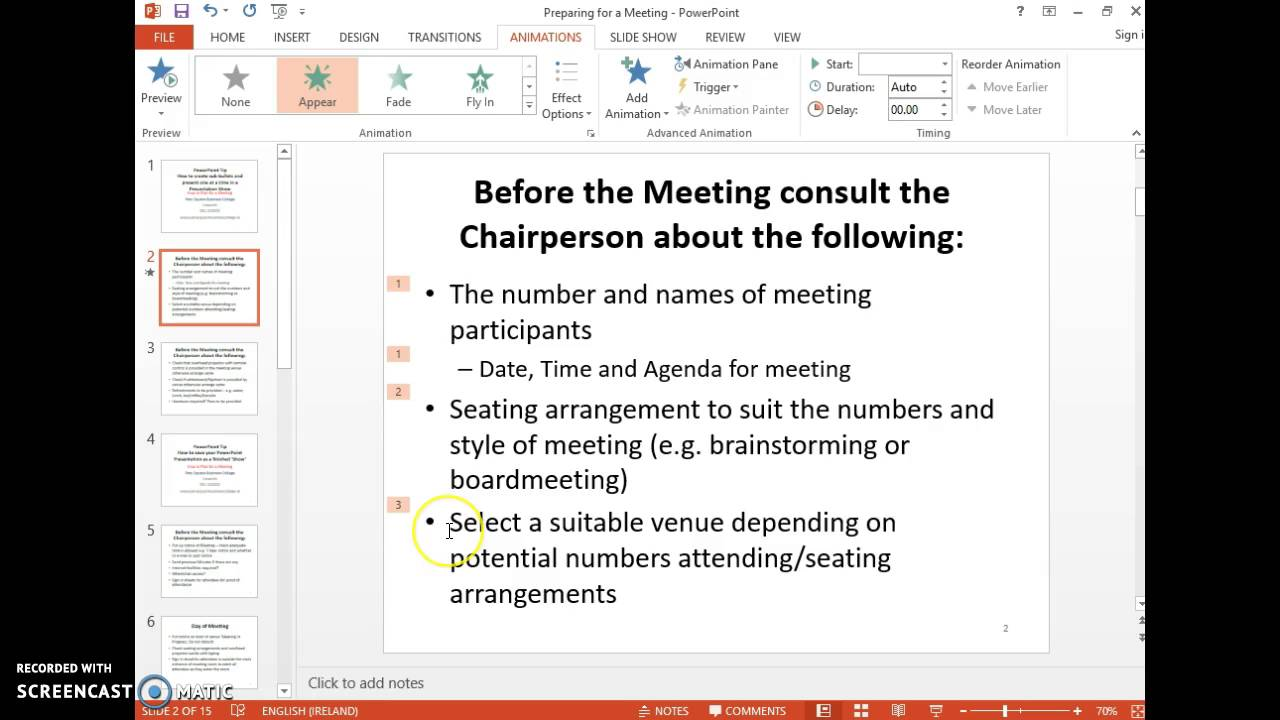 Powerpoint Tip #12: Create Subbullets & Show One At A Time