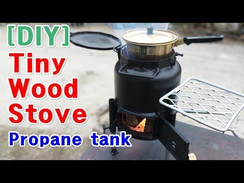 [DIY] Tiny Wood Stove..Propane tank wood stove build(버려진 가스통으로 작은 나무난로 만들기) recycle