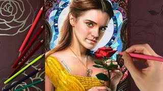 Drawing Emma Watson as Belle - ' Beauty And The Beast ' | 色鉛筆画 エマ・ワトソン 『美女と野獣』