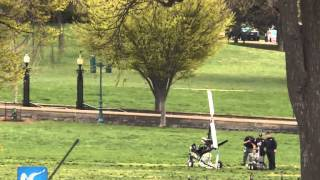 RAW: Florida mailman lands helicopter on Capitol lawn