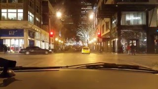 Driving through Downtown Seattle at night to Chinatown - ID 2016.