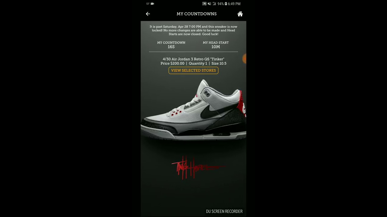 3657c8adfbb Dramatic Footaction app countdown for Air Jordan 3 Tinker NRG! Did I win!?