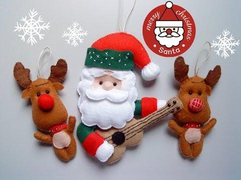Passo a Passo - Papai Noel 🎅 com violão 🎸 de Feltro