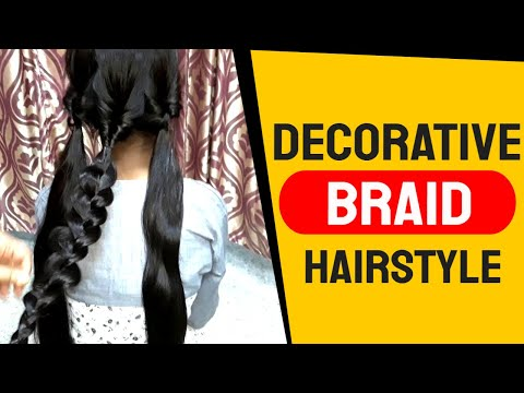 A Decorative Braid Hairstyle for girl's. Wedding Party/Receptions. Easy Hairstyles. thumbnail