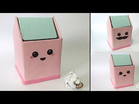 How To Make cute Trash bin From Cardboard    Waste Material Craft Ideas