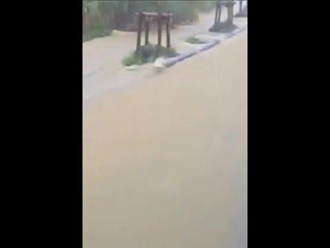 第26回宮古島100kmワイドーマラソンの豪雨による道路の濁流状態(95km地点)