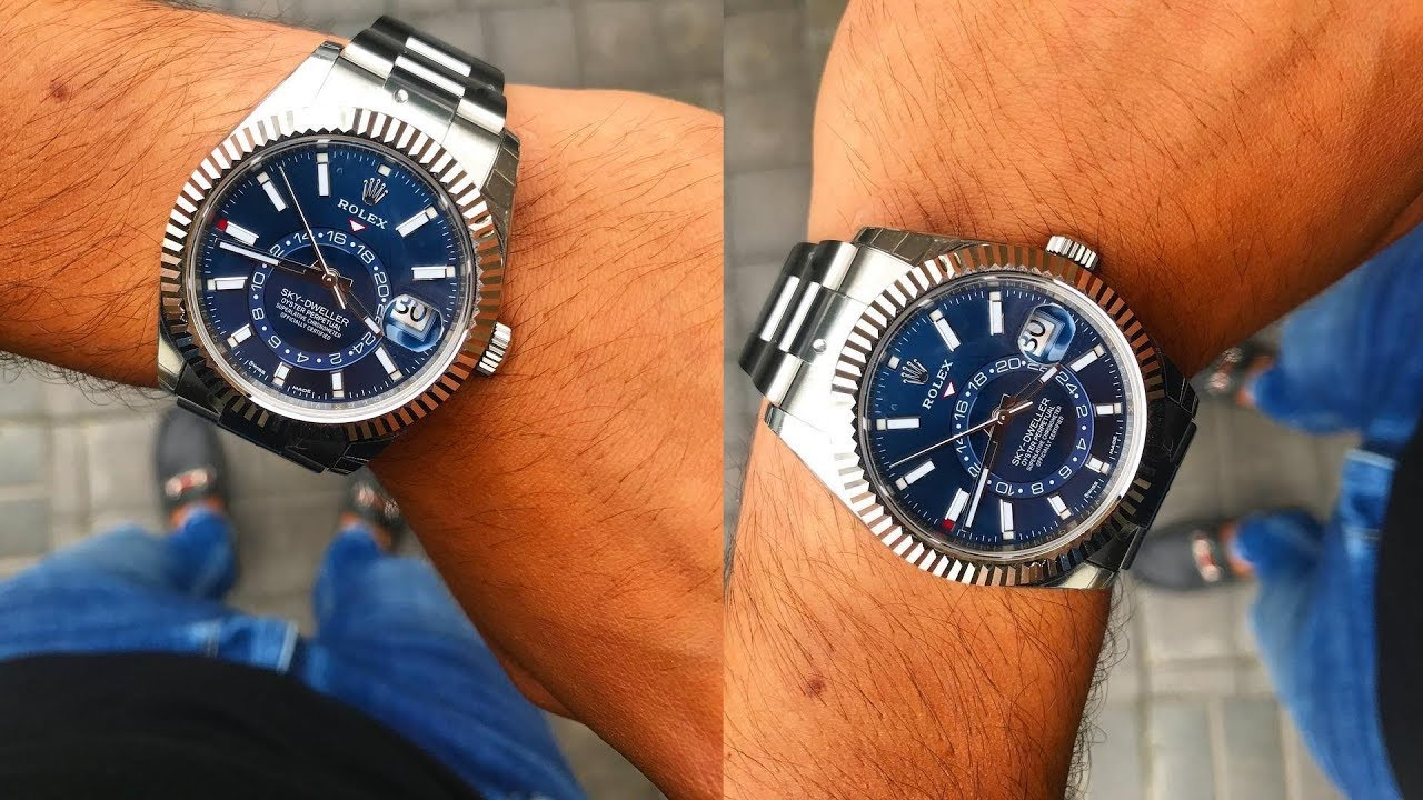 A brand new Rolex Sky,Dweller 326934 Blue dial 42 mm steel and white gold  luxury watch on wrist