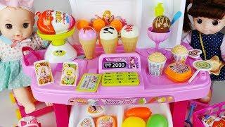 Baby doll Ice cream and kitchen food cart shop toys play 아기인형 아이스크림과 주방 음식 카트 가게 뽀로로 장난감놀이 - 토이몽