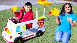 Liam Playing with New Taco Food Truck Ride On Toy