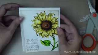 watercolored sunflower power card