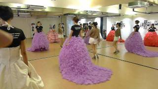 Catwalk Modeling with Can Can gown