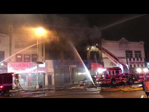 PASSAIC FIRE DEPARTMENT BATTLING MAJOR 7TH ALARM FIRE WITH MUTUAL AID FROM 12 FIRE DEPARTMENTS.