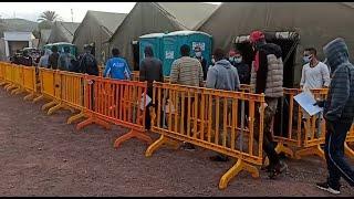 Inmigrantes de Arguineguín llegan al CATE de Barranco Seco
