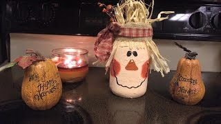DIY Scarecrow Mason Jars | Easy Fall Crafts || Logan Lynn