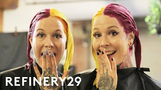 Twins Try Matching Split Hair Dye | Hair Me Out | Refinery29