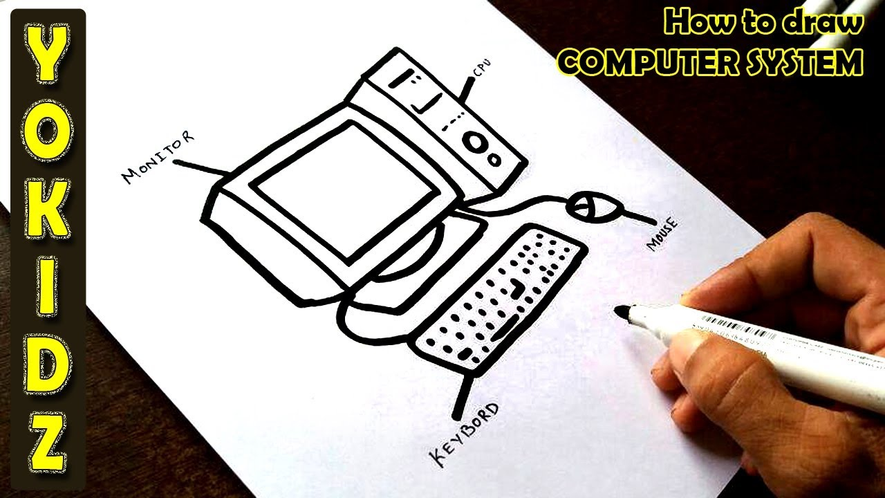 How To Draw Computer System Youtube
