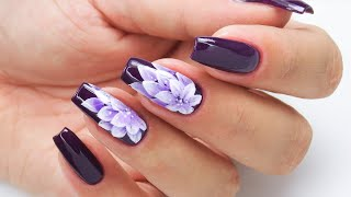Violet flowers nails art tutorial / Colours by Molly