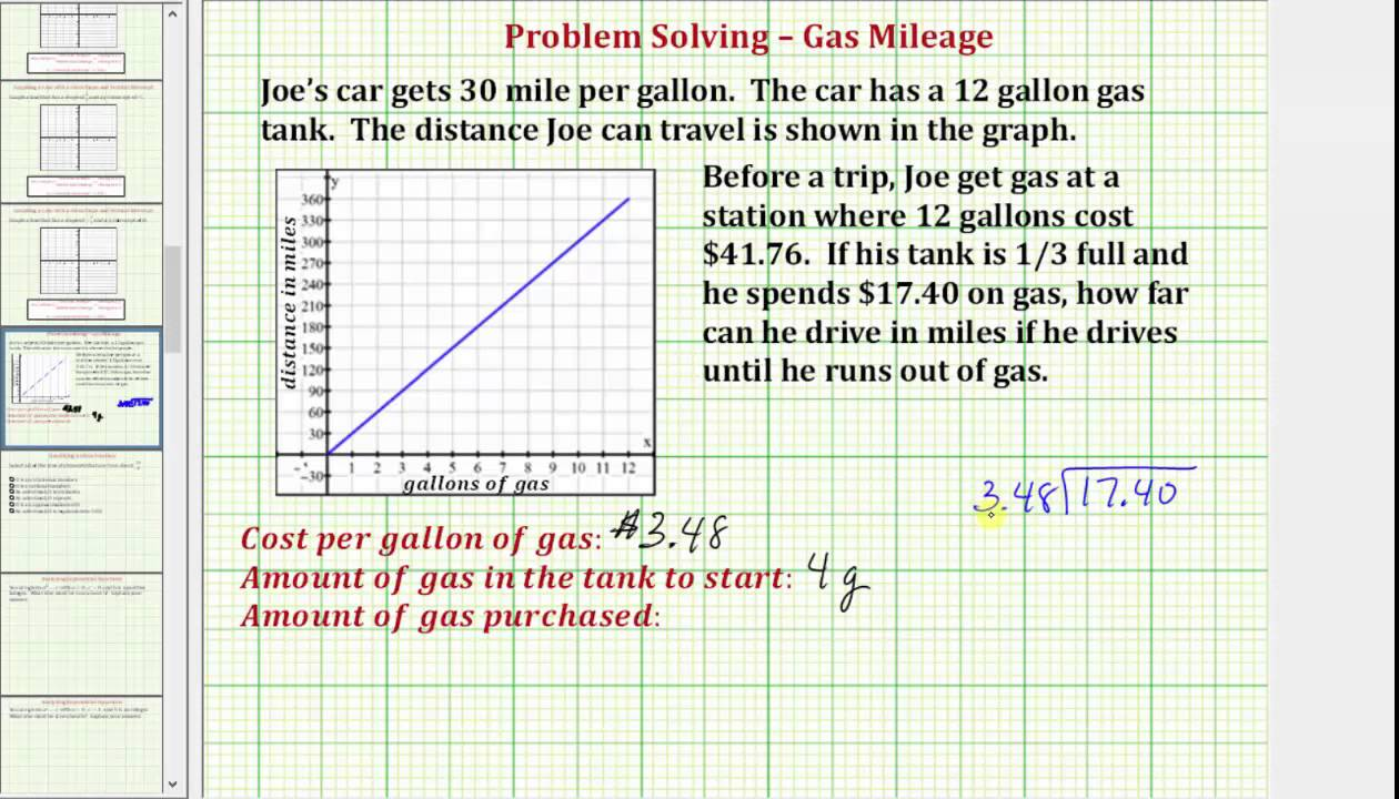 problem solving using gas mileage and a graph common core math 7 8