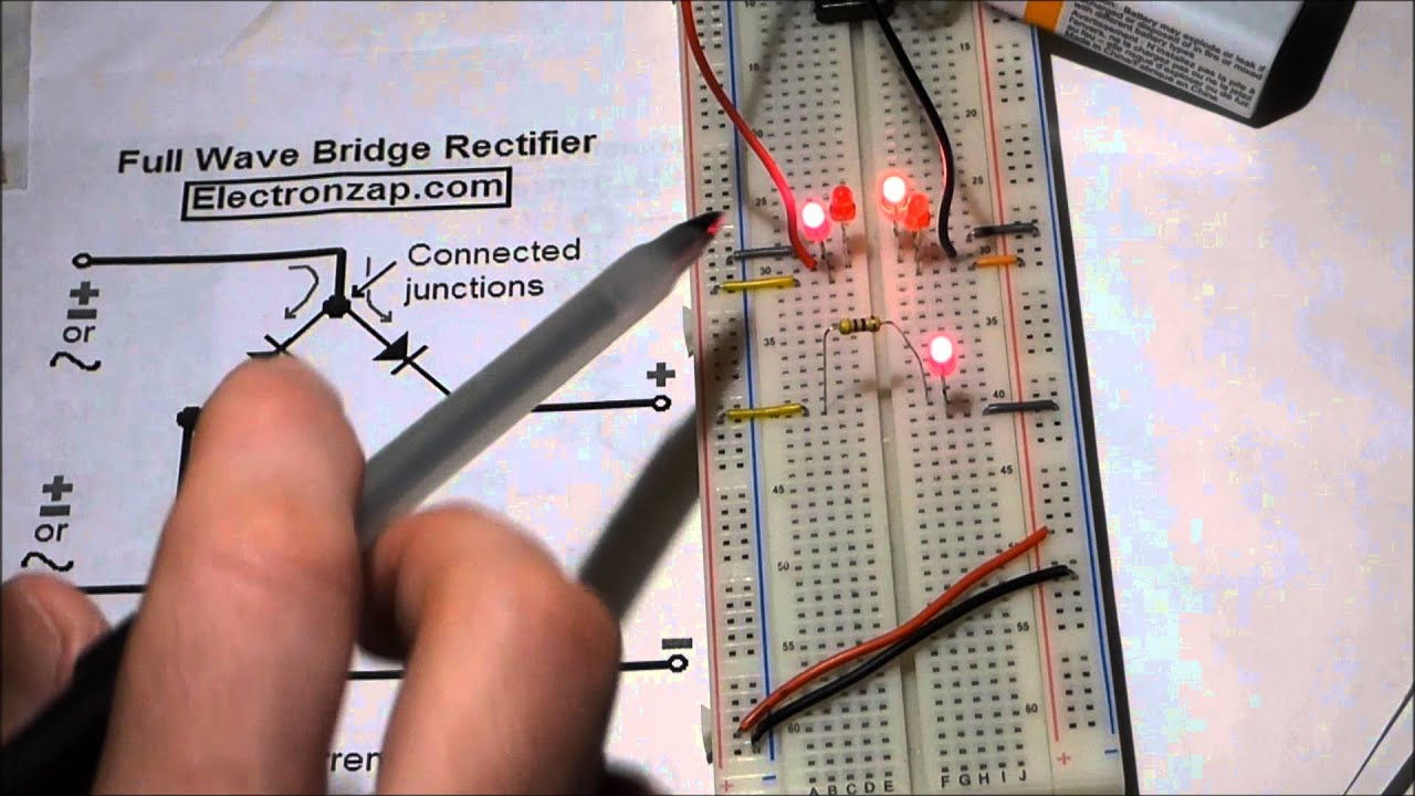 Electronics Circuit Full Wave Bridge Rectifier Leds And 1n4001 Connect In Series Parallel Electronic Projects Diodes Component Shown