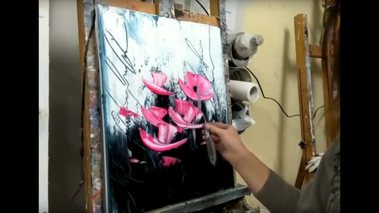 Cours De Peinture Au Couteau Facile Les Fleurs Modernes Youtube