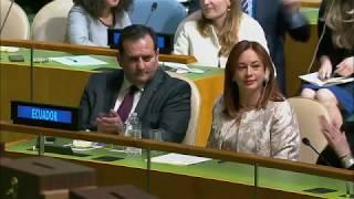 ONU elege ministra equatoriana para nova presidente da Assembleia Geral