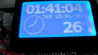 Pinguino RTC and Temperature using a Graphic LCD 128x64