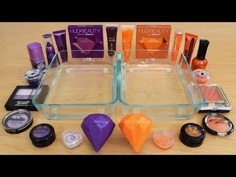 Purple vs Orange - Mixing Makeup Eyeshadow Into Slime! Special Series 185 Satisfying Slime Video