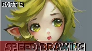 Cute Kawaii Anime Girl Speed Drawing Painting Sketching Painting with Photoshop 2