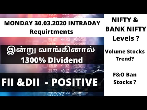 Monday - 30.03.2020 | Intrday Requirtment | NIFTY & BANK NIFTY Level| Dividend Stocks|ALICE BLUE|TTZ