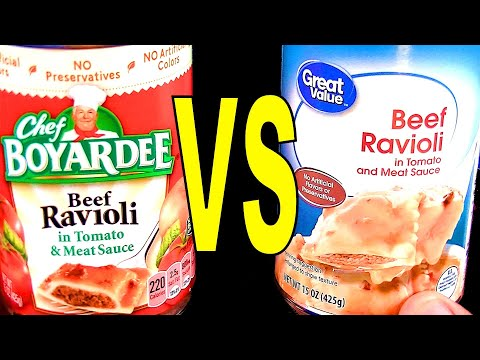 Chef Boyardee Ravioli vs. Walmart Great Value Brand – FoodFights Beef Ravioli Review