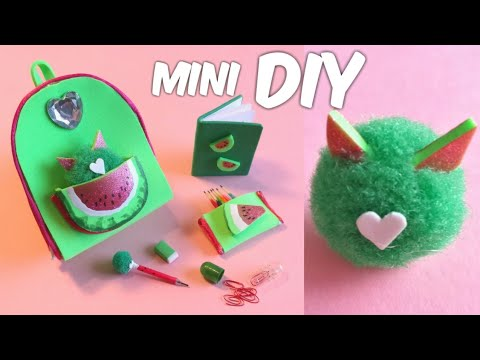 DIY Miniature Watermelon School Supplies | Mini Backpack, Pencil Case, Notebook and Pompom Animal
