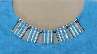 Gota Patti और Beads से बनाए Round गले का ये खूबसूरत डिज़ाइन| Round Neck Design .