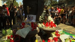 Raw: Flowers and Tributes Laid for Spain Victims