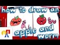 How To Draw A Cartoon Apple And Worm
