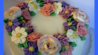 Buttercreme Blumenkranz Torte - Blüten aus Buttercreme - Buttercream Fowers - von Kuchenfee